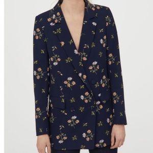 H&M Navy Floral Blazer NEW Size 8 $60 Blogger